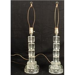 Pair Lefton Vintage Etched Crystal Glass Table Lamps