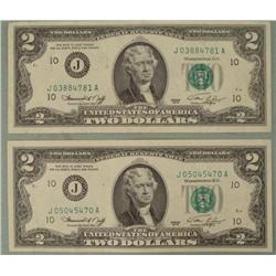 2 1976 Two Dollar Notes J Mint Kansas City -Nice Bills