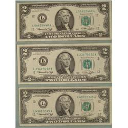 3 1976 Two Dollar Bills L Mint San Francisco Notes