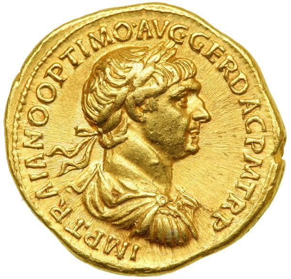 Aureus 114 Roma Coin, Trajan, Roma, graded, NGC, VF, 5/5-4