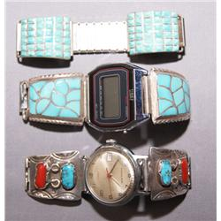 3 SETS OF NAVAJO STERLING WATCH TIPS