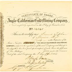 April 8, 1853 - Anglo California Gold Mining Company Stock Certificate :