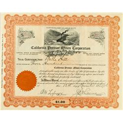 November 12, 1926 - California Premier Mines Corporation Stock Certificate :