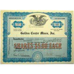 1935 - Golden Center Mines Inc. Stock Certificate :