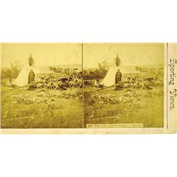 """c1880s - Great Plains Old Chief's Camp--""""Goose""""--Stereoview :"""