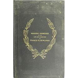 1920 - Memorial Addresses on the Life and Character of Francis G. Newlands Book :