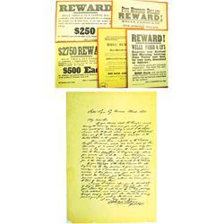1875 - Wells Fargo & Company Reward Posters & Letter :