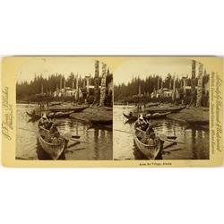 Kasa An Village,AK - 1890 - Alaska Eskimo Fishing Canoes Stereoview :