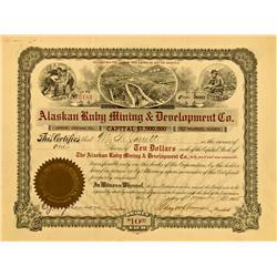 Wrangel,AK - Petersburg County - December 1905 - Alaskan Ruby Mining & Development Co. Stock Certifi