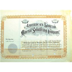 AZ - December 24, 1904 - American Liquid Mineral Solidifying Company Stock Certificate *Territorial*