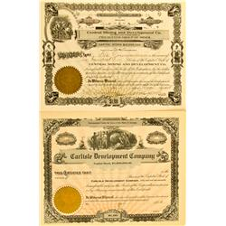 AZ - 1908 - Carlisle Development Co. and Central Mining Development Co. Stocks (2) :