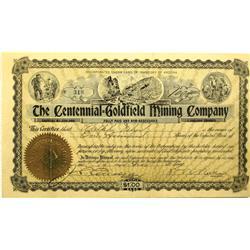 AZ - November 19, 1907 - Centennial Goldfield Mining Company Stock Certificate :