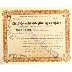 AZ - 1909 - Chief Consolidated Mining Company Stock Certificate *Territorial* :