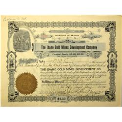 AZ - 1905 - Idaho Mines and Development Company Stock Certificate :
