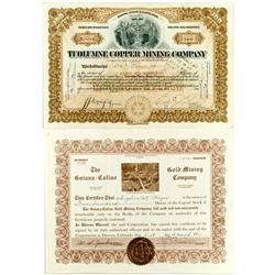 AZ - 1914, 1918 - Mining Stock Certificates *Territorial* :