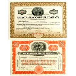 AZ - 1916-17 - Ray Copper Company Stock Certificates :