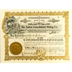 AZ - 1907 - Sutton Consolidated Mining Company Stock Certificate *Territorial* :