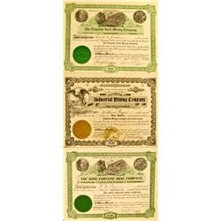 AZ - 1903,1904,1909 - Tripolite Gold, Industrial and King Fortune Mining Stock Certificates (3) :