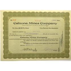 Arivaca,AZ - Prima County - 1917 - Calzona Mines Company Stock Certificate :