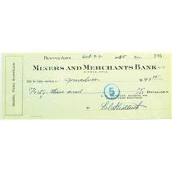Bisbee,AZ - Cochise County - October 22, 1935 - Miners and Merchants Bank Check :