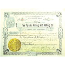 Clifton,AZ - Greenlee County - August 2, 1909 - Polaris Mining and Milling Co. Stock Certificate *Te