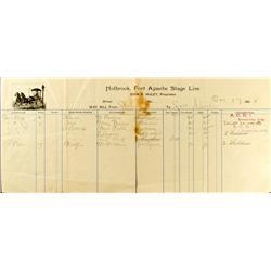 Fort Apache,AZ - Navajo County - 1904 - Holbrook, Fort Apache Stage Line Way Bill :