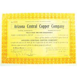 Humboldt,AZ - Yavapai County - September 10, 1909 - Arizona Central Copper Company Stock Certificate