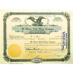 Oatman,AZ - Mohave County - March 31, 1916 - Hi Henry Gold Mines Company Stock Certificate :