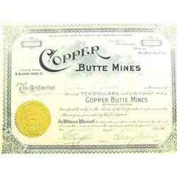 Phoenix,AZ - Maricopa County - April 12, 1907 - Copper Butte Mines Stock Certificate *Territorial* :