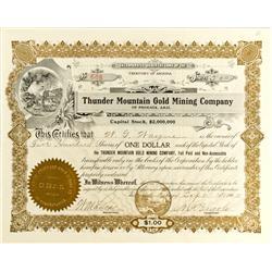 Phoenix,AZ - Maricopa County - 1902 - Thunder Mountain Gold Mining Company Stock :