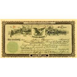 Prescott,AZ - Yavapai County - September 21, 1896 - Alma Gold Mining Company Stock :