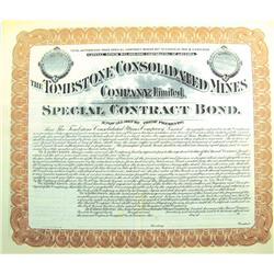Tombstone,AZ - Cochise County - c.1900 - Tombstone Consolidated Mines Company, Limited, Bond :