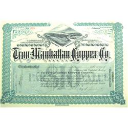 Troy,AZ - Pinal County - September 30, 1902 - Troy-Manhattan Copper Co. Stock Certificate *Territori