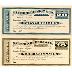 Tucson,AZ - Pima County - No date - Safford, Hudson & Co. Bankers Checks :