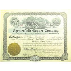 Twin Buttes,AZ - Pima County - November 14, 1912 - Chesterfield Copper Company Stock Certificate Che