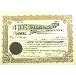 Yavapai County,AZ - May 19, 1908 - Big Stick Gold Mining Company Stock Certificate *Territorial* :