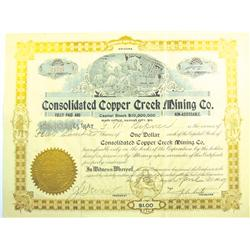 Yavapai County,AZ - April 9, 1909 - Consolidated Copper Creek Mining Co. Stock Certificate *Territor