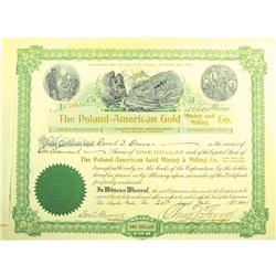 Yavapai County,AZ - July 20, 1904 - Poland-American Gold Mining and Milling Co. Stock Certificate *T