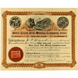 CA - 1899 - Alder Creek Gold Mining Company Stock :
