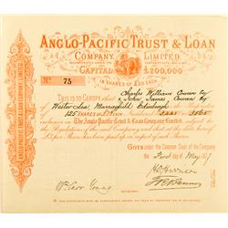 CA - May 1, 1877 - Anglo-Pacific Trust & Loan Company, Limited, Stock (Pink) :