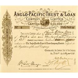CA - August 1, 1874 - Anglo-Pacific Trust & Loan Company, Limited, Stock Certificate :