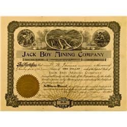 CA - July 1, 1905 - Jack Boy Mining Company Stock :