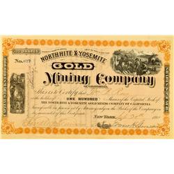 CA - September 20, 1880 - North Hite & Yosemite Gold Mining Company of California Stock :