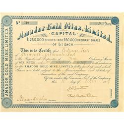 Amador City,CA - Amador County - October 30, 1889 - Amador Gold Mine, Limited, Stock Certificate :