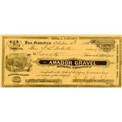 Amador County,CA - October 14, 1878 - Amador Gravel Mining Company Stock Certificate :