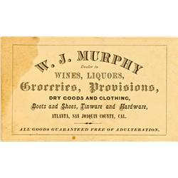 Atlanta,CA - San Joaquin County - No Date - Murphy, W. J.  Business Card :