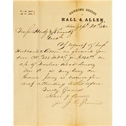 Auburn,CA - Placer County - September 20, 1860 - Hall & Allen Banking Office Letter :