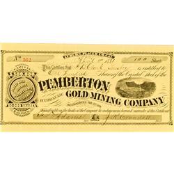 Auburn,CA - Placer County - April 5, 1881 - Pemberton Hydraulic Gold Mining Company Stock :