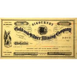 Bodie,CA - Mono County - September 24 1878 - Sigourney Gold and Silver Mining Company Stock Certific