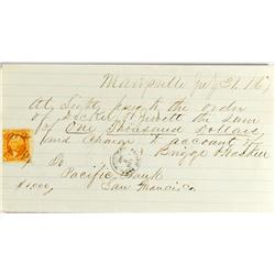 Marysville,CA - July 31, 1867 - Pacific Bank Manuscript Check :